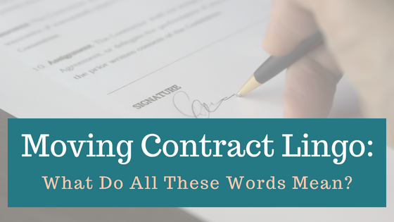 Moving Contract Lingo: What do all these words mean?