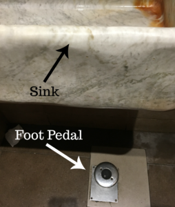 sink with foot pedal