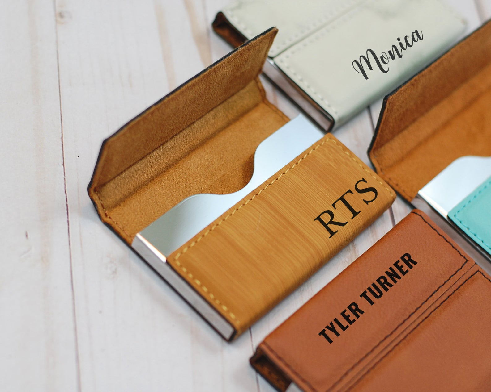 Leather and metal business card holders