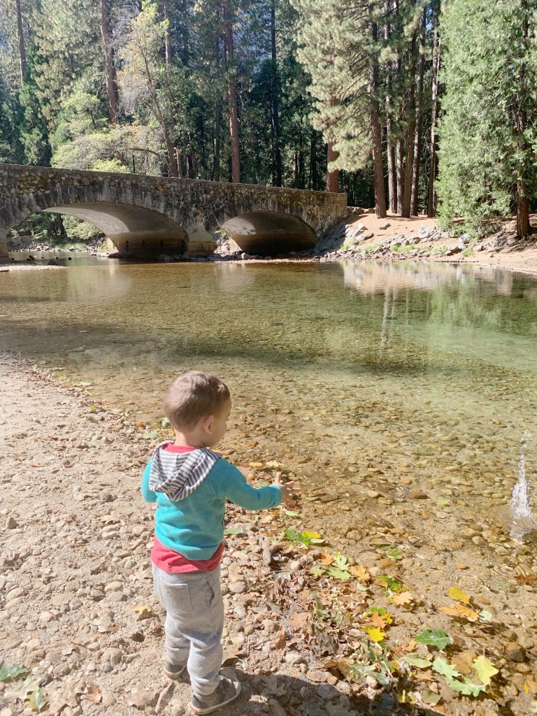Throwing rocks in the Merced River behind the Ahwahnee Hotel