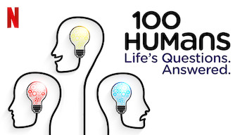 """Outline of three heads with a lightbulb in each head.  One red, one yellow, and one blue.  Text overlay """"100 Humans: Life's questions. Answered."""" The Netflix logo is in the top left corner."""