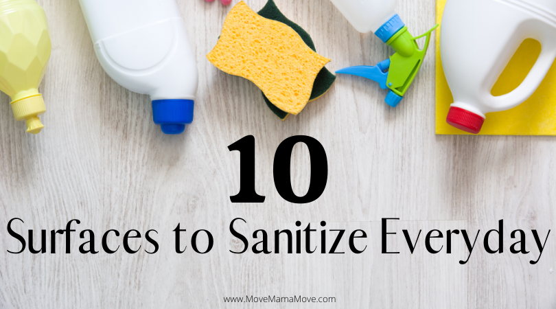 "Cleaning supplies creating a top border.  Text overlay ""10 Surfaces to Sanitize Everyday"""
