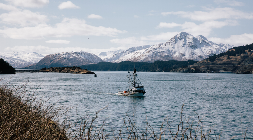 A fishing boat in an Alaskan bay
