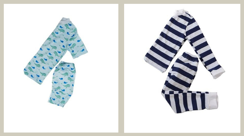 Two separate pairs of Peejamas, one with a whale print and the other with navy and white stripes.