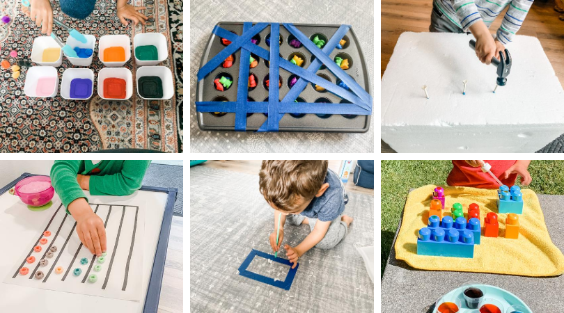 Six photos of  colorful toddler activities related to sorting, using. a droper, using a hammer, all with a focus on fine motor skills