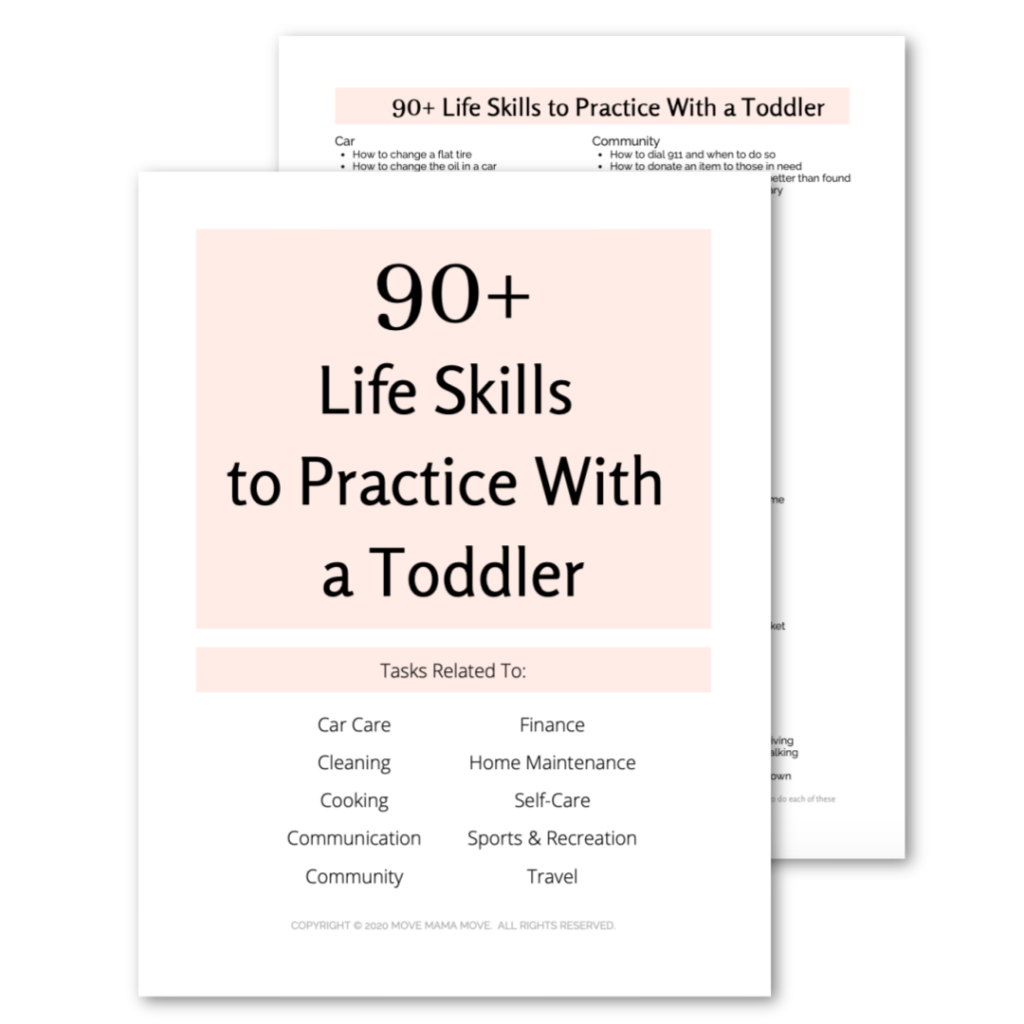 Screenshot of 90+ Life Skills to Practice with a Toddler
