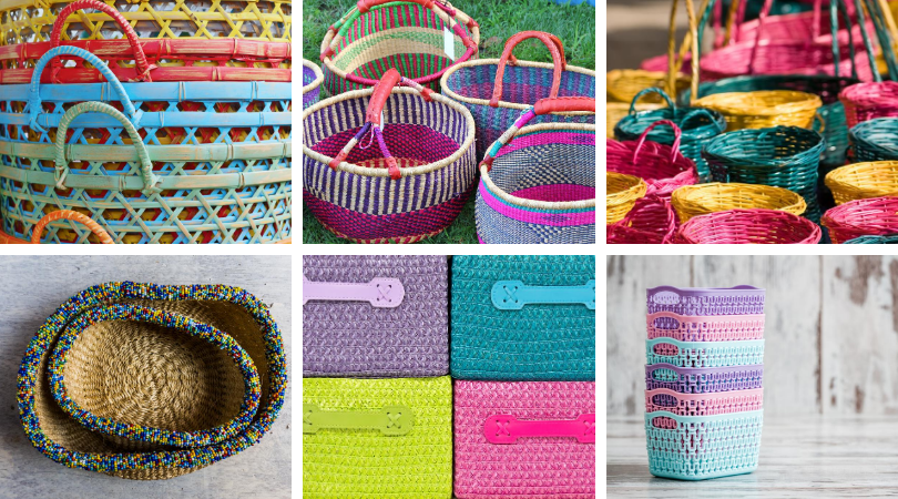 Collage of colorful basket as recommendations for nursing baskets