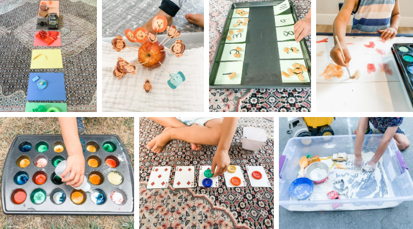 7 photos of toddler sorting, counting, painting, playing in sensory bin, mixing colors in Yod School