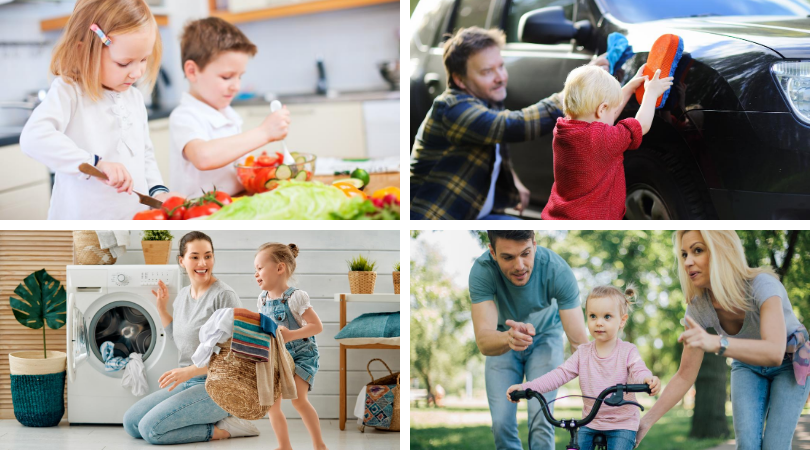 Four photos: kids cooking in kitchen, one kid washing car with dad, one girl carrying a basket of laundry, a mom and dad teaching a girl how to ride a bike