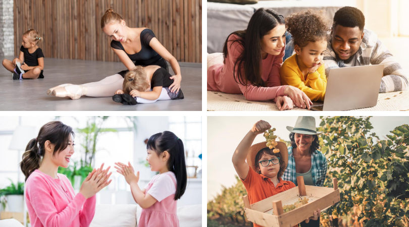 4 pictures: 1 ballet teacher with toddler, two parents helping toddler with computer, a mom playing patty cake with daughter, and a boy holding up grapes while at a vineyard