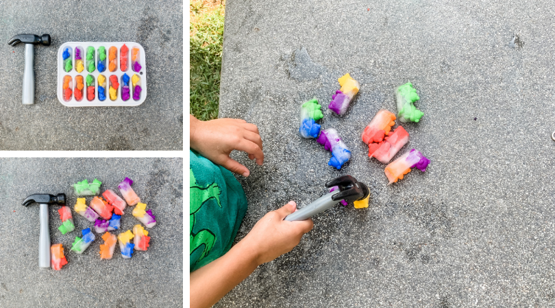 Three pictures of counting bears frozen.   Also a hammer and toddler hammering the bears.