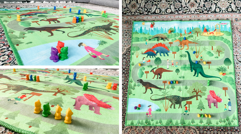Three pictures of counting bears on a dinosaur scene blanket