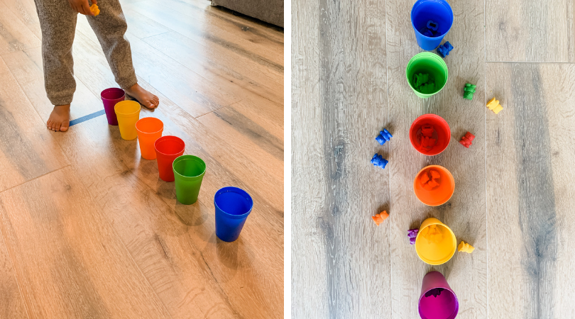 Two pictures of cups lined up.   Toddler throwing bears in cup