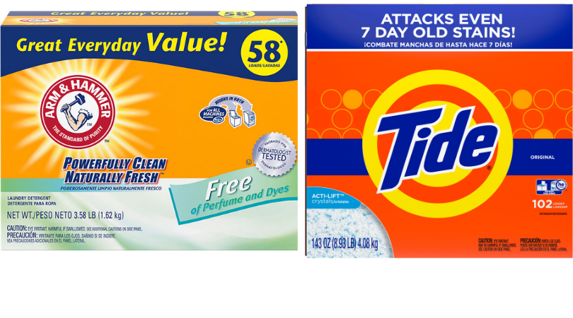 One box of Arm & Hammer Free of Perfume & Dyes; One box of Tide Detergent