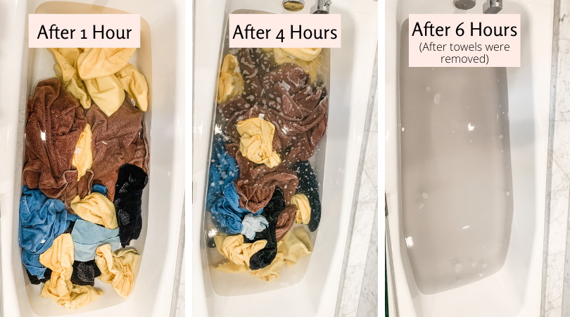 Three photo progressions of laundry stripping after 1 hour, after 4 hours, and after 6 hours.