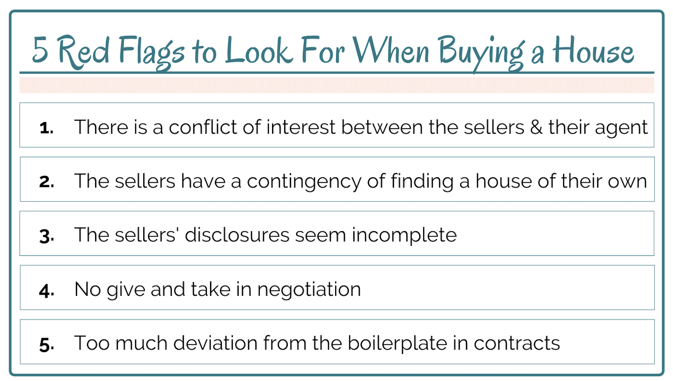 """Wallet size photo with a list of the """"5 Red Flags to Look For When Buying a House"""". A link is attached to bring you to the file to print out for your own use."""