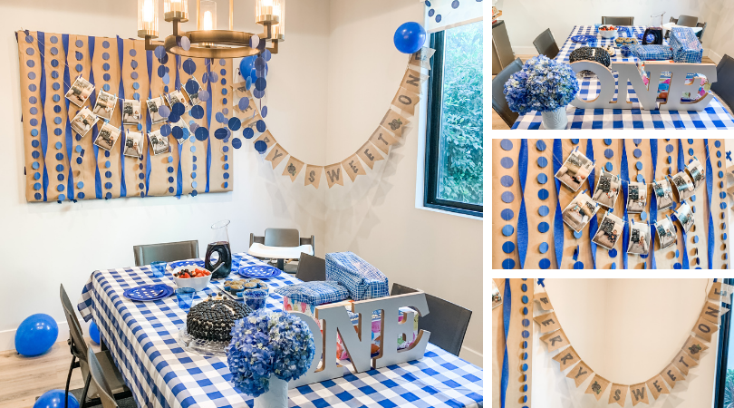 "Four photos of the blueberry birthday decor.  First, larger photo on left is of the full room with a checkered tablecloth on the table, brown and blue banners, and blueberry food on table.  The other three photos are a close up shot of the decorated table, the memory photo backdrop, and the homemade banner that says ""Berry Sweet One"""
