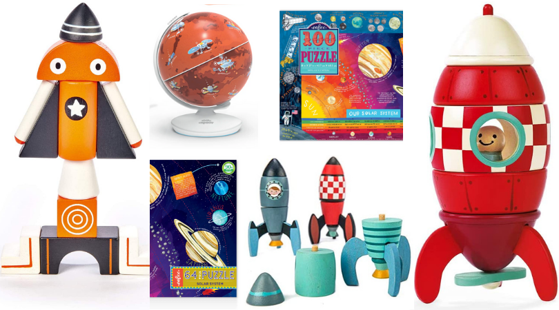6 toys: magblocs, a mars globe, a 100-piece puzzle of outer space, a 64-piece puzzle of outer space, rocket construction set trio, and a janod magnetic rocket