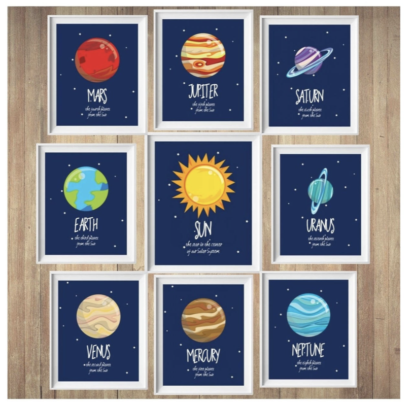 9 framed pieces of art.  one piece is the sun, the other 8 are each one of the planets.