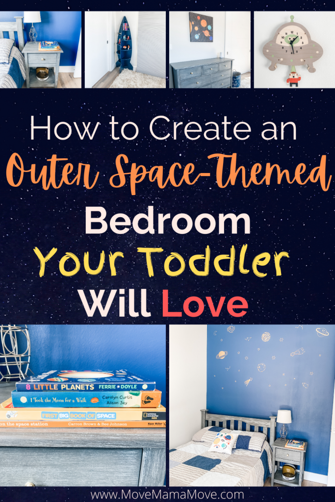 """Text """"How to Create an Outer Space-Themed Bedroom Your Toddler Will Love"""". With six pictures. 1 - nightstand with books and rocket ship lamp. 2 - space ship bookshelf 3 - dresser with planets painting hanging above 4 - ufo clock 5 - blue wall with gold stars next to bed with blue striped quilt, 6 - close up of space books"""
