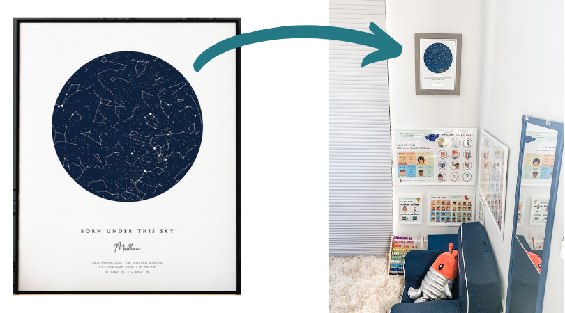 Framed picture of the night sky hung on wall above child's reading corner