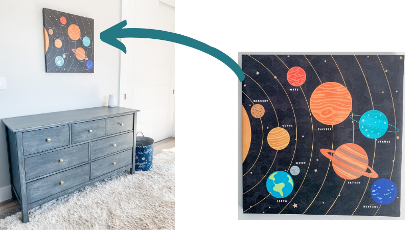 a gray dresser with wall art consisting of the 8 planets and sun