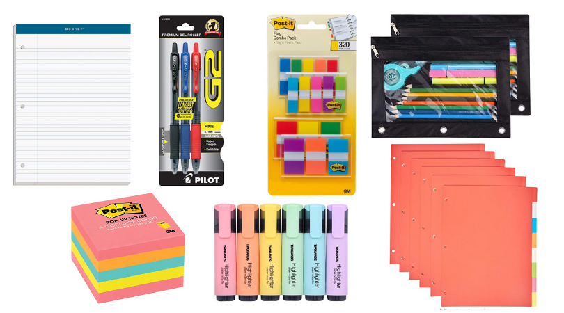 collage of office supplies: note pad, black/blue/red pens, post it flags, zippered pouches, dividers, post-it notes, and highlighters