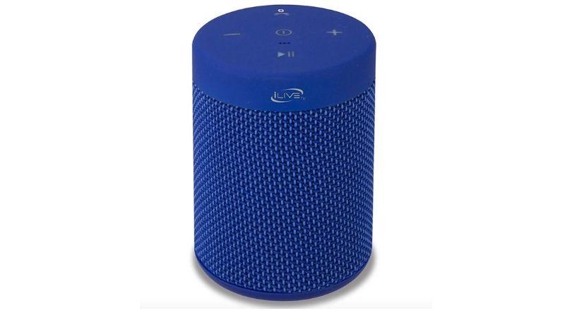 Blue cylindrical bluetooth speaker